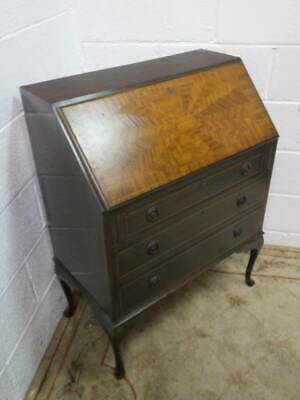 MAHOGANY FALL FRONT BUREAU With An OAK INLAY DESIGN, 3 DRAWERS.