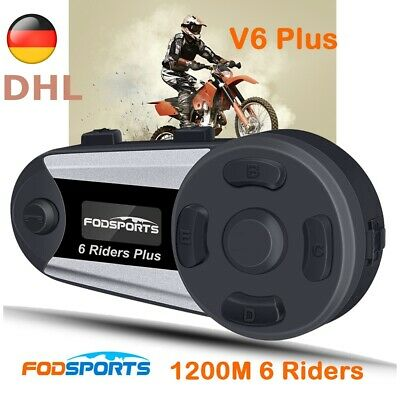 1200m Motorrad Bluetooth Gegensprechanlage Helm Headset V6 Plus Intercom 6 Rider