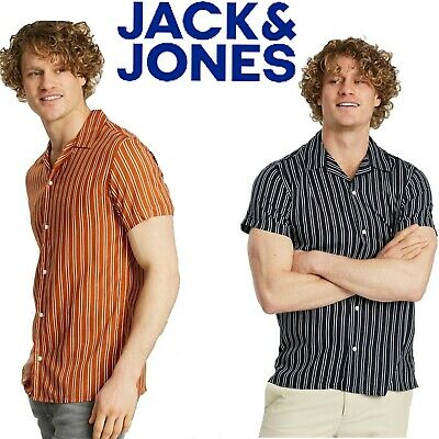 Jack & Jones Mens Short Sleeve Slim Fit Shirt Casual Striped Shirts Sizes S-2XL