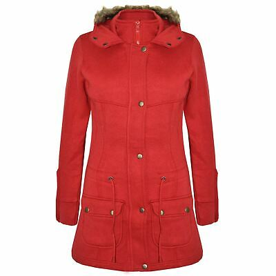 Kids Girls Coat Red Fleece Parka Jackets Long Faux Fur Hooded Winter Coats 5-13Y