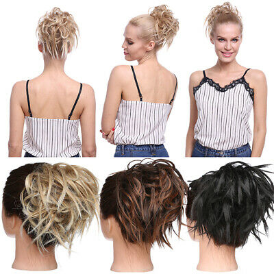 Lady Thick Messy Bun Hair Scrunchie Updo Cover Curly Hair Extensions Brown Grey