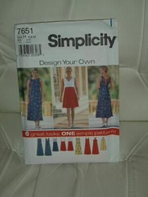 Simplicity Sewing Pattern 7651 Misses Design Your Own Dress Size 6-10