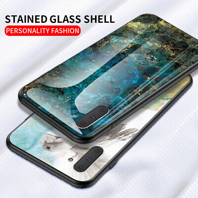 For Samsung Galaxy Note 10 S9 A6 A7 Marble Tempered Glass Hybrid Hard Case Cover