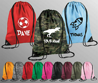 Personalised Name Drawstring Bag PE Boys Kit School Girls Sport Backpack Kids