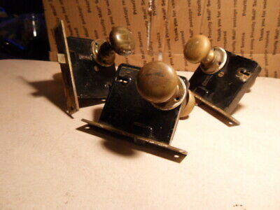 THREE Vintage Antique Russwin Mortise Lock and Door Knob Set NO KEYS