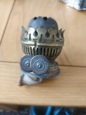 Antique Brass Duplex Oil Lamp Burner And Collar With Snuffers Good Working Order