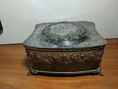 """Antique Derby Victorian Silver Plate Hinged Repousse Jewelry Box Satin Lined 8"""""""