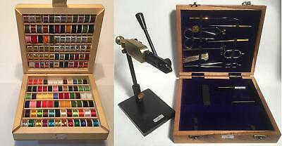 Rotary Fly tying vice and 14 tools . Fly tying kit, 144 Spools thread