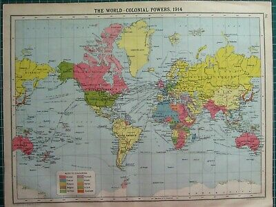 Historical Map World Colonial Powers 1914 British North America India Africa