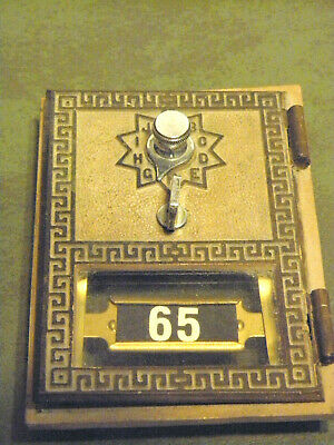 Vintage 1961 Brass Post Office Box Door W/Working Combination Lock & Combination