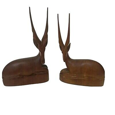 Mid Century Modern 60's Pair Vintage Deer Ornament Carved Teak Wood Stag Large
