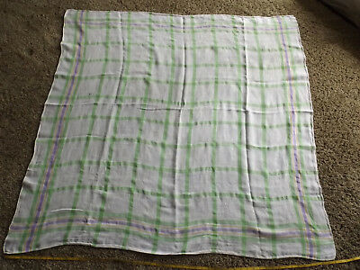 Old Vintage Retro Linen Plaid Square Tablecloth White Green Yellow Purple Easter