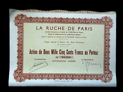 La Ruche De Paris - Action De 2500 Francs - Automobile - Cycles