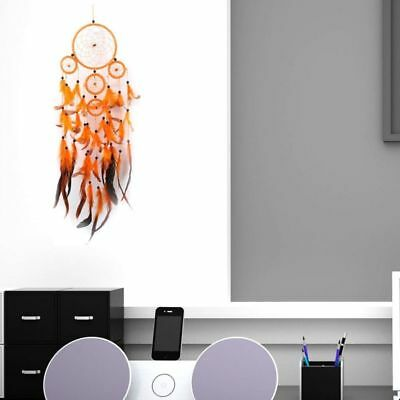 Traditional Handmade Beautiful Orange Dream Catcher with Feathers Home Decor