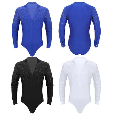 Herren Body Langarm Bodysuit Giltzer Tanz-Body mit Strass Hemdbody Leotard Tops