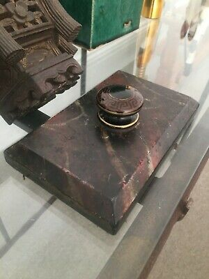 Antique slate paperweight simulated marble with Greek key handke