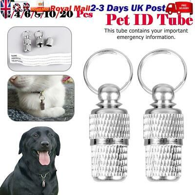 UK Pet ID Tag / Capsule Ideal For Dog / Cat Collar Barrel ID Tube-Free Delivery