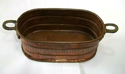 Solid Copper Boiler Planter Handmade  Oval 6.5 by 3 Inches with Handles