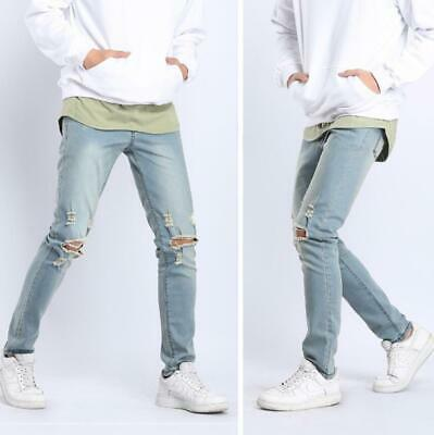 Mens Boys Skinny Ripped Slim Fit Biker Jeans Denim Distressed Frayed Pants Jeans