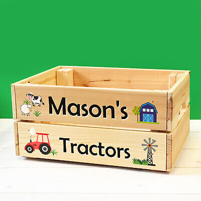 Personalised Kids Toy Farm Vehicles & Tractors Wooden Storage Toy Box Crate