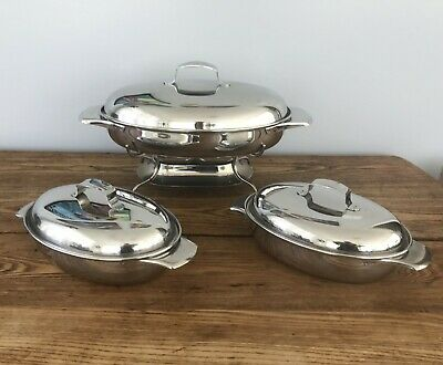 VTG MCM Stainless Steel Oval Casserole Chaffing Dish w Warmer Set of 3