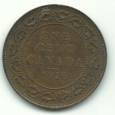 High Grade Vf 1916 Canada Large One Cent-Agt532
