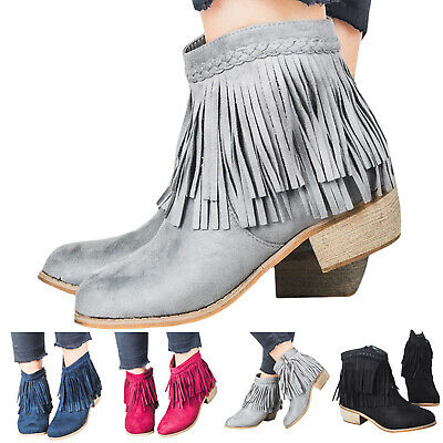 Women Ladies Short Ankle Boots Tassel Chunky Low Heel Casual Shoes UK Size 3.5-8