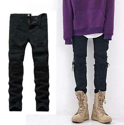 Mens Boys Hip Hop Skinny Biker Jeans Ripped Slim fit Denim Distress Frayed Jeans