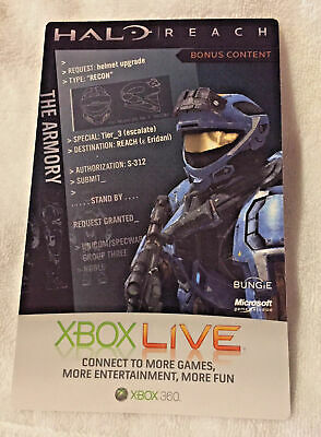XBox 360 Live Halo Reach The Armory Helmet upgrade Bonus Content Card Code-NEW
