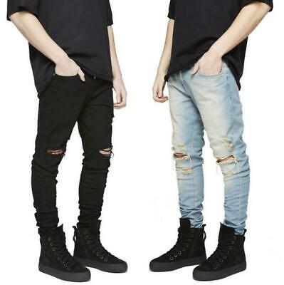 Mens Boys Ripped Skinny Stretch Jeans Slim fit Denim Distress Frayed Biker Jeans