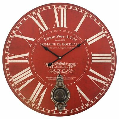 New Large Red Morin Pere & Fils Round Wall Clock Pendulum Vintage 58cm Diameter