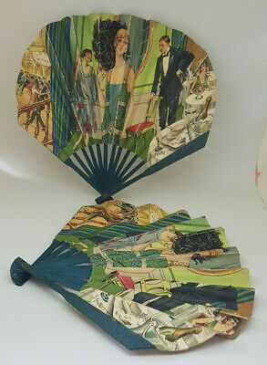 """2 Of 1920'S Antique Art Deco French Hand-held Fan Signed """" THE HOTEL CECIL """""""