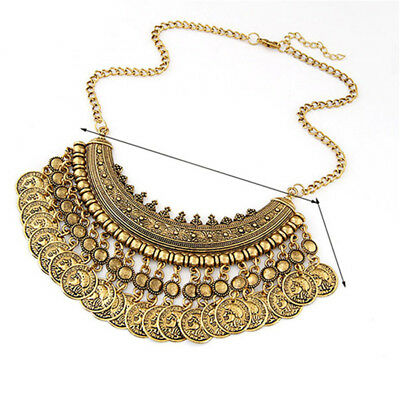 Bohemian Chunky Coins Bib Statement for Ladies Womens Vintage Necklace N7