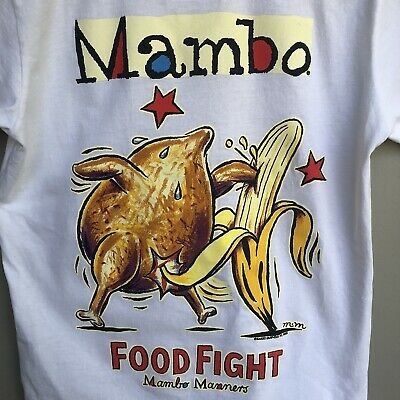 Rare VINTAGE 2001 MAMBO Matthew Martin FOOD FIGHT Kids Children's T-shirt Tee 10