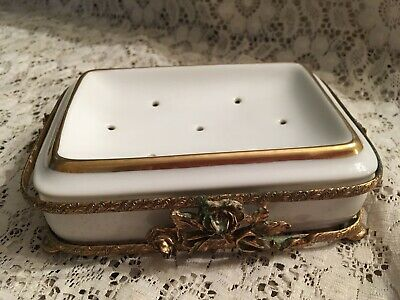 "Vintage Hollywood Regency Vanity Soap Dish Gold Ormolu 4""x6"""