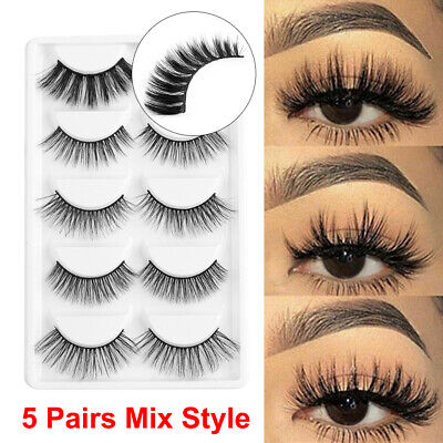 SKONHED 5 Pairs Mix Style 6D Faux Mink Hair Thick Long Fluffy False Eyelashes HQ