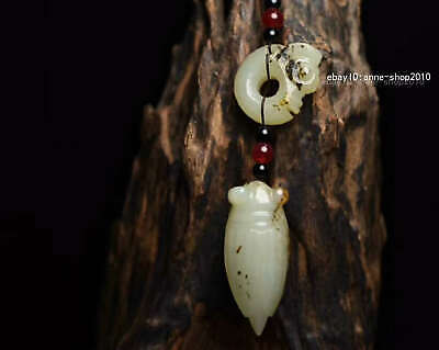 10.8cm collect China natural HeTian Jade Hand carved Animal Cicada Pendant WSB