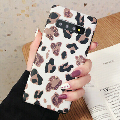 Samsung Galaxy S10 Plus S10e S9 S8 Rubber Back Case Leopard Print Pattern Cover