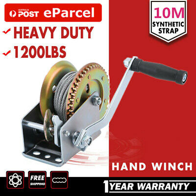 CAMPER TRAILER 1200LBS Dual Action Manual Hand Strap Winch