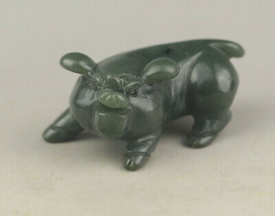 Chinese old natural hetian jade hand-carved pig statue