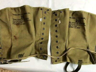 WWII 1943 Original US Army Canvas Leggings M1938 New Old Stock Collector Find 2R