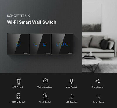 SONOFF T3 Wifi LED Light Touch Switch Smart Wall Screen Tempered Glass Panel UK