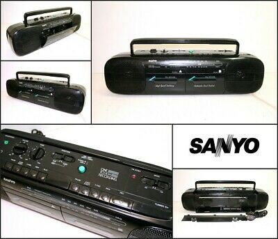 Vintage SANYO One Touch Recording Radio Double Cassette Recorder Boombox