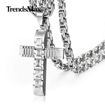 Clear CZ Cross Necklace Pendant Stainless Steel Silver Byzantine Chain For Men