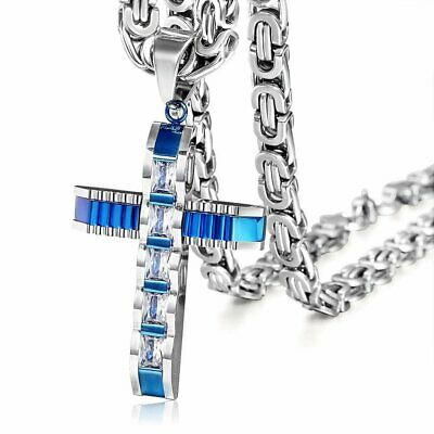 Men Clear CZ Blue Silver Cross Pendant  Necklace Stainless Steel Byzantine Chain