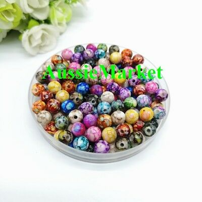 50 x beads acrylic plastic jewellery round mixed colours crafts spacer 8mm loose