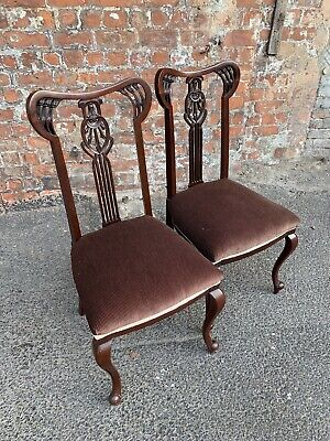 Pair Of Antique Edwardian Mahogany Dining Chairs - Two Side Occasional Chairs
