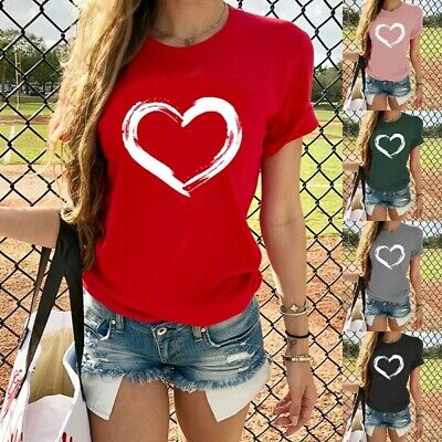 Women's Fashion Love Print Short Sleeve T-Shirt Summer Casual Graphic Tess Tops