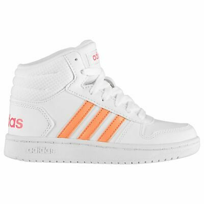 adidas Hoops Mid Top Trainers Child Girls Shoes Casual White/Coral Footwear
