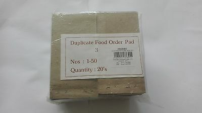 Restaurant/cafe/takeaway/pub/bar food/waiter numbered order duplicate NCR pads